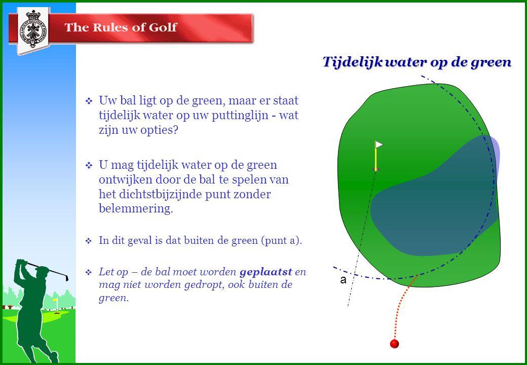 Tijdelijk water op de green  Uw bal ligt op de green, maar er staat tijdelijk water op uw puttinglijn - wat zijn uw opties.