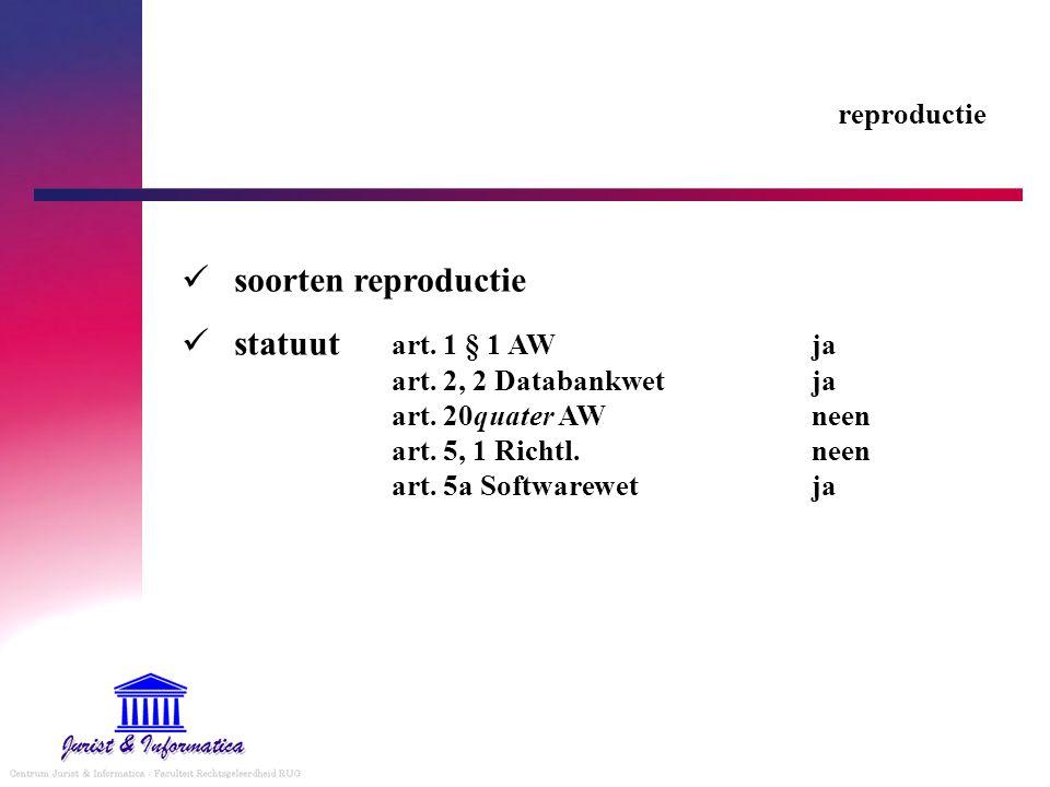 reproductie soorten reproductie statuut art. 1 § 1 AW ja art.