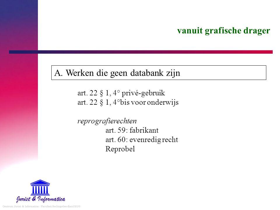 vanuit grafische drager A. Werken die geen databank zijn art.