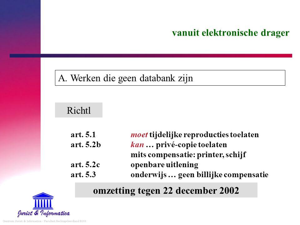 vanuit elektronische drager A. Werken die geen databank zijn Richtl art.