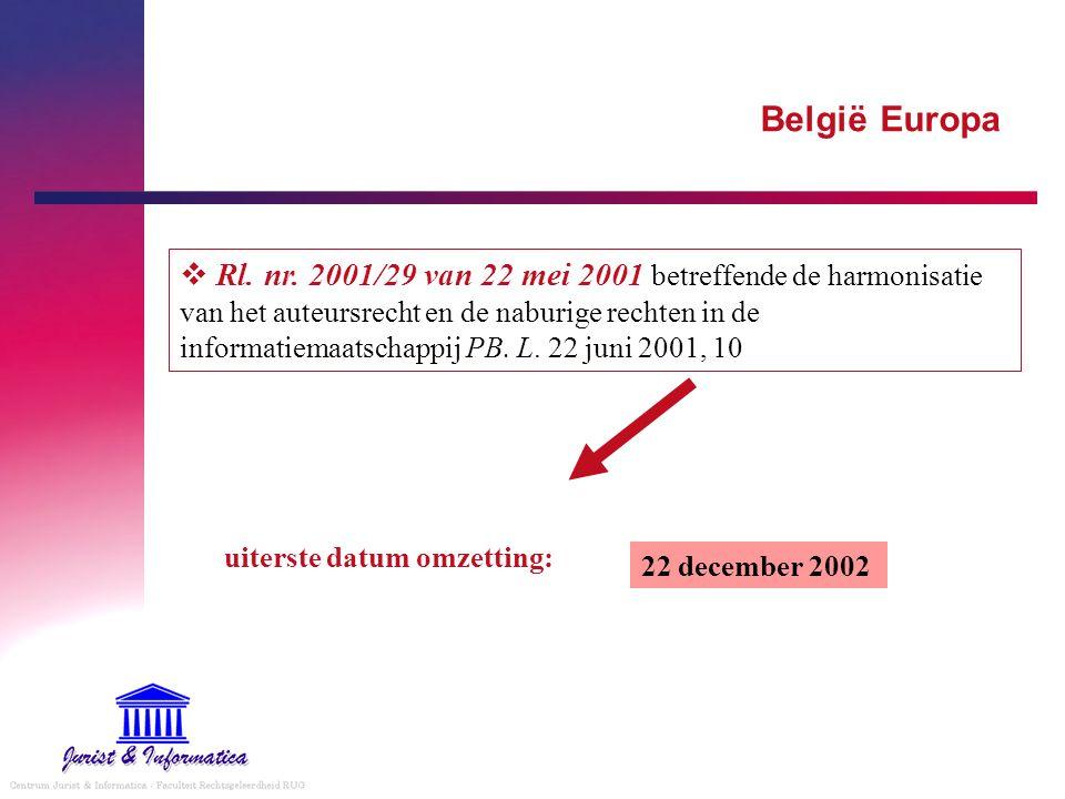 België Europa 22 december 2002 uiterste datum omzetting:  Rl.