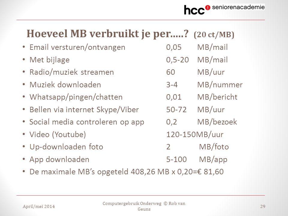 Hoeveel MB verbruikt je per…..? (20 ct/MB) Email versturen/ontvangen 0,05 MB/mail Met bijlage0,5-20 MB/mail Radio/muziek streamen60 MB/uur Muziek down