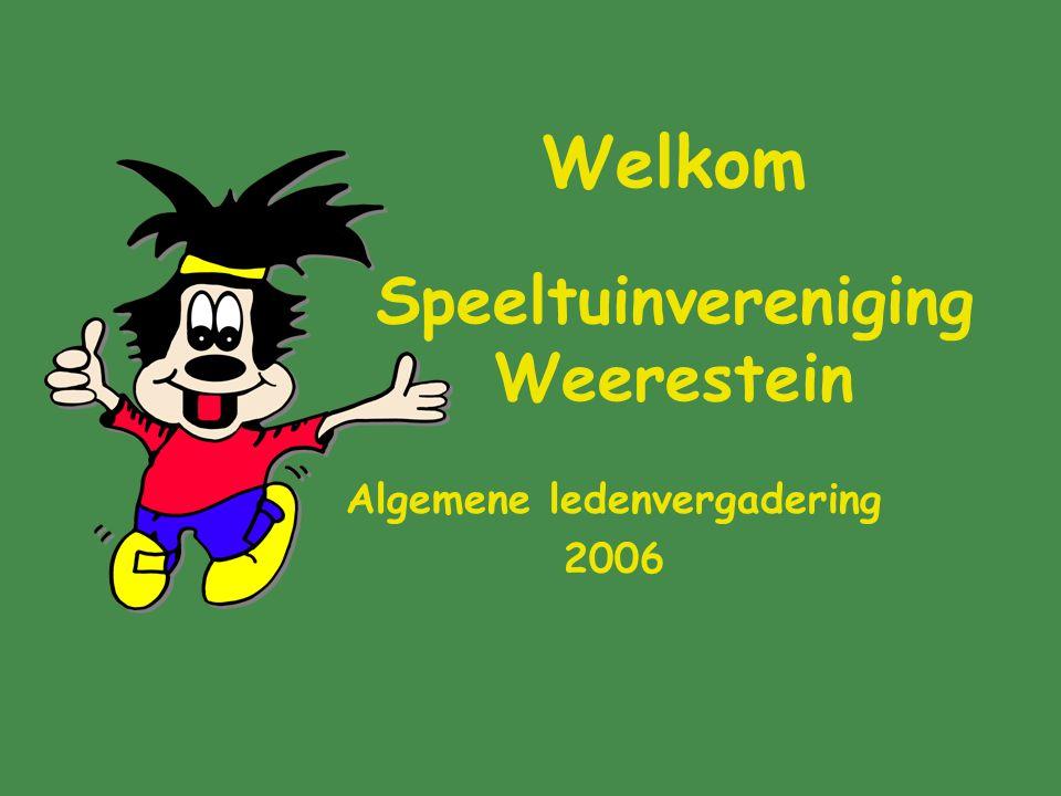 Welkom Speeltuinvereniging Weerestein Algemene ledenvergadering 2006