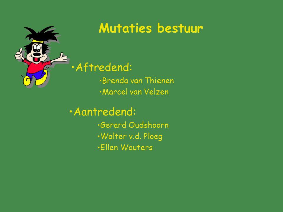 Mutaties bestuur Aftredend: Brenda van Thienen Marcel van Velzen Aantredend: Gerard Oudshoorn Walter v.d.