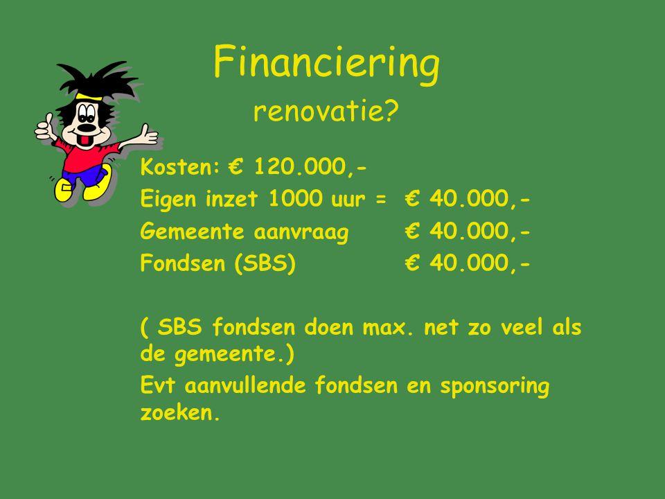 Financiering renovatie? Kosten: € 120.000,- Eigen inzet 1000 uur = € 40.000,- Gemeente aanvraag € 40.000,- Fondsen (SBS) € 40.000,- ( SBS fondsen doen