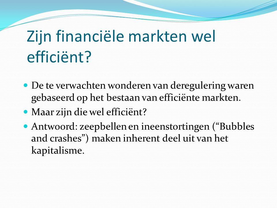 Zijn financiële markten wel efficiënt? De te verwachten wonderen van deregulering waren gebaseerd op het bestaan van efficiënte markten. Maar zijn die