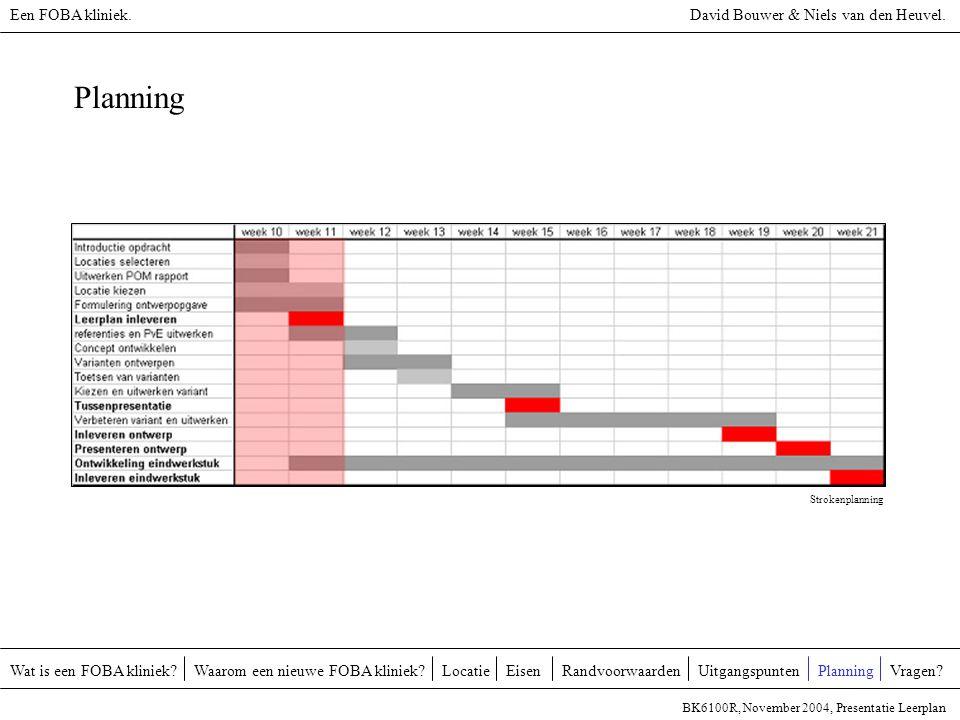 Planning Wat is een FOBA kliniek?Waarom een nieuwe FOBA kliniek?EisenUitgangspuntenRandvoorwaardenLocatieVragen? BK6100R, November 2004, Presentatie L