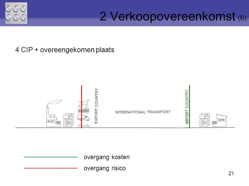 21 4 CIP + overeengekomen plaats 2 Verkoopovereenkomst (6) overgang risico overgang kosten