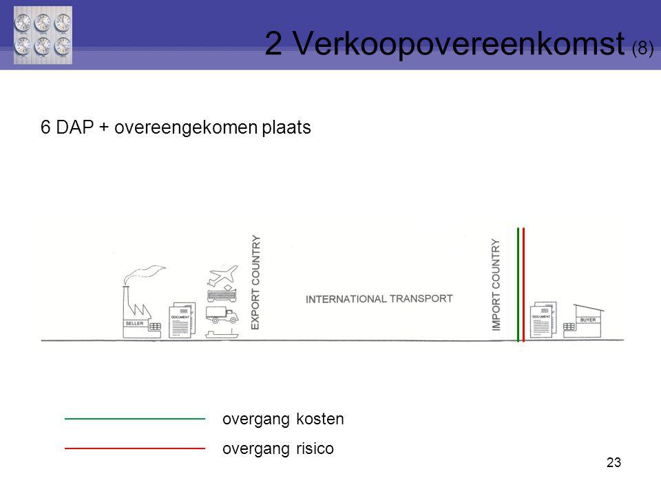 23 6 DAP + overeengekomen plaats 2 Verkoopovereenkomst (8) overgang risico overgang kosten