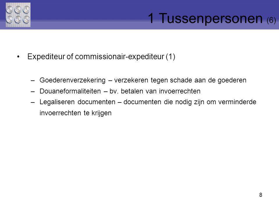 8 Expediteur of commissionair-expediteur (1) –Goederenverzekering – verzekeren tegen schade aan de goederen –Douaneformaliteiten – bv. betalen van inv