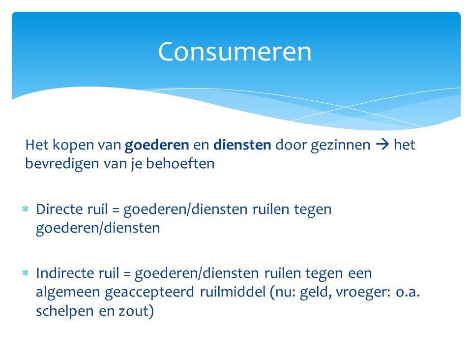 Het kopen van goederen en diensten door gezinnen  het bevredigen van je behoeften  Directe ruil = goederen/diensten ruilen tegen goederen/diensten 