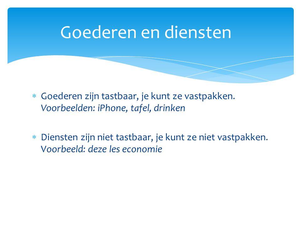  Goederen zijn tastbaar, je kunt ze vastpakken. Voorbeelden: iPhone, tafel, drinken  Diensten zijn niet tastbaar, je kunt ze niet vastpakken. Voorbe