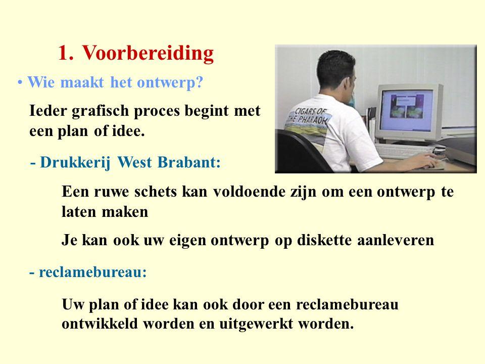 1.Voorbereiding - Drukkerij West Brabant: - reclamebureau: Wie maakt het ontwerp? Ieder grafisch proces begint met een plan of idee. Een ruwe schets k