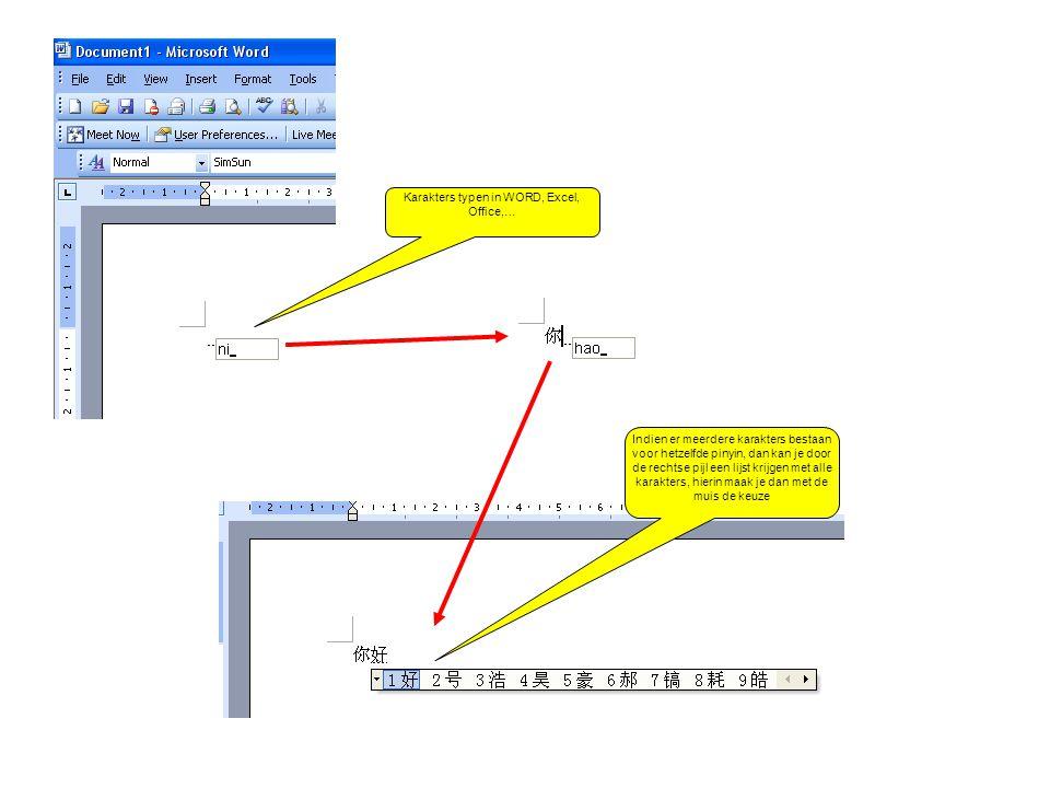 Karakters typen in WORD, Excel, Office,… Indien er meerdere karakters bestaan voor hetzelfde pinyin, dan kan je door de rechtse pijl een lijst krijgen