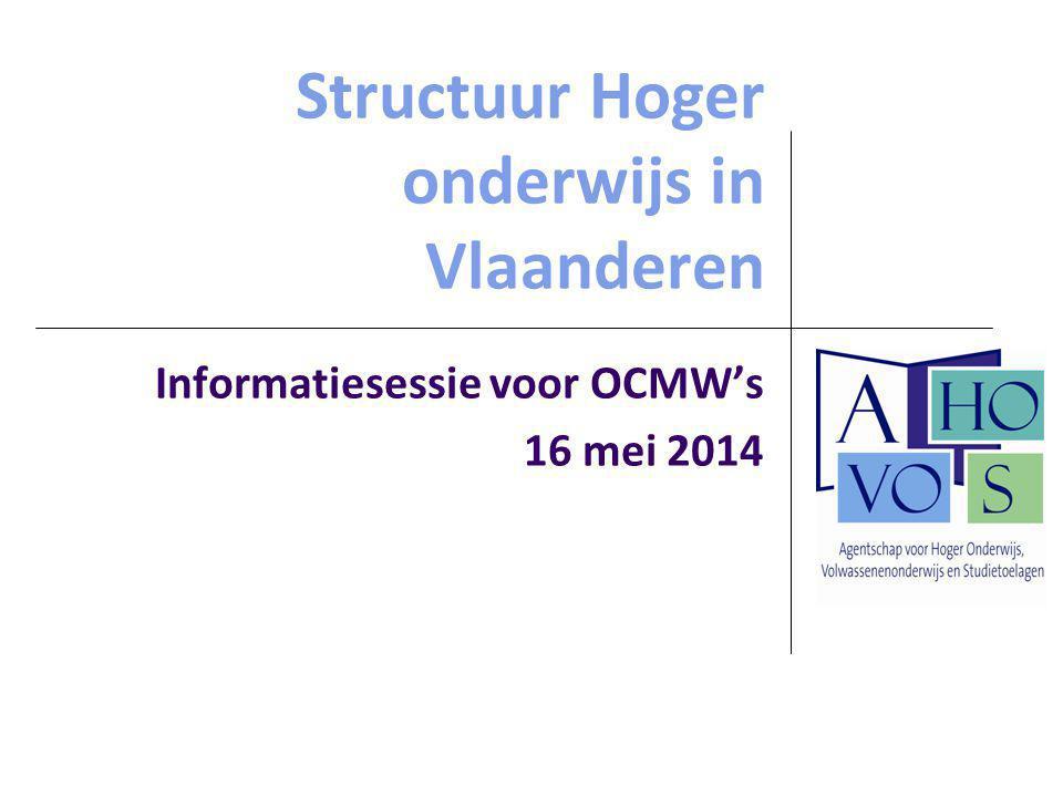 Structuur Hoger onderwijs in Vlaanderen Informatiesessie voor OCMW's 16 mei 2014