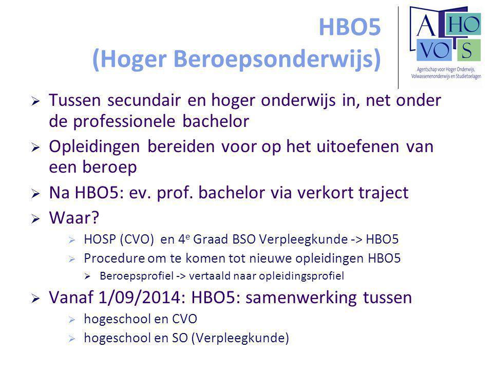 HBO5 (Hoger Beroepsonderwijs)  Tussen secundair en hoger onderwijs in, net onder de professionele bachelor  Opleidingen bereiden voor op het uitoefenen van een beroep  Na HBO5: ev.