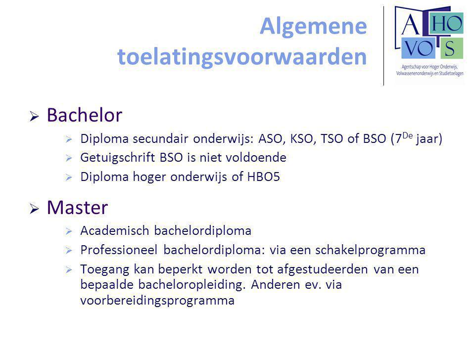 Algemene toelatingsvoorwaarden  Bachelor  Diploma secundair onderwijs: ASO, KSO, TSO of BSO (7 De jaar)  Getuigschrift BSO is niet voldoende  Dipl