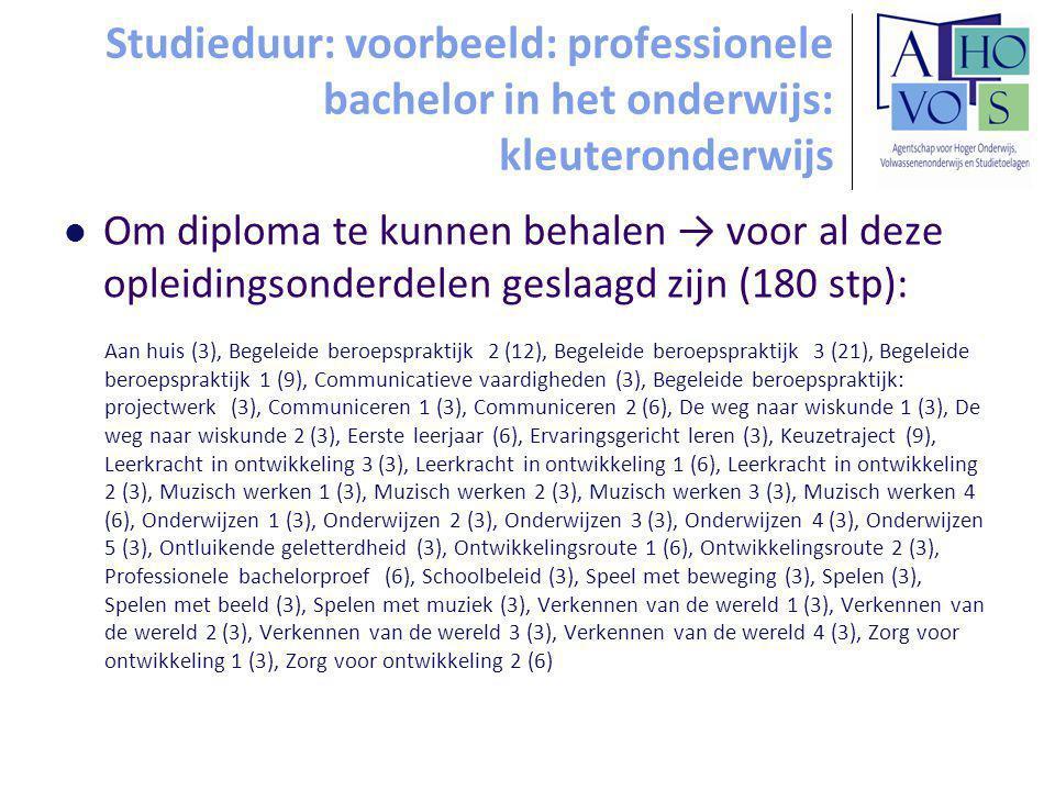 Studieduur: voorbeeld: professionele bachelor in het onderwijs: kleuteronderwijs Om diploma te kunnen behalen → voor al deze opleidingsonderdelen geslaagd zijn (180 stp): Aan huis (3), Begeleide beroepspraktijk 2 (12), Begeleide beroepspraktijk 3 (21), Begeleide beroepspraktijk 1 (9), Communicatieve vaardigheden (3), Begeleide beroepspraktijk: projectwerk (3), Communiceren 1 (3), Communiceren 2 (6), De weg naar wiskunde 1 (3), De weg naar wiskunde 2 (3), Eerste leerjaar (6), Ervaringsgericht leren (3), Keuzetraject (9), Leerkracht in ontwikkeling 3 (3), Leerkracht in ontwikkeling 1 (6), Leerkracht in ontwikkeling 2 (3), Muzisch werken 1 (3), Muzisch werken 2 (3), Muzisch werken 3 (3), Muzisch werken 4 (6), Onderwijzen 1 (3), Onderwijzen 2 (3), Onderwijzen 3 (3), Onderwijzen 4 (3), Onderwijzen 5 (3), Ontluikende geletterdheid (3), Ontwikkelingsroute 1 (6), Ontwikkelingsroute 2 (3), Professionele bachelorproef (6), Schoolbeleid (3), Speel met beweging (3), Spelen (3), Spelen met beeld (3), Spelen met muziek (3), Verkennen van de wereld 1 (3), Verkennen van de wereld 2 (3), Verkennen van de wereld 3 (3), Verkennen van de wereld 4 (3), Zorg voor ontwikkeling 1 (3), Zorg voor ontwikkeling 2 (6)