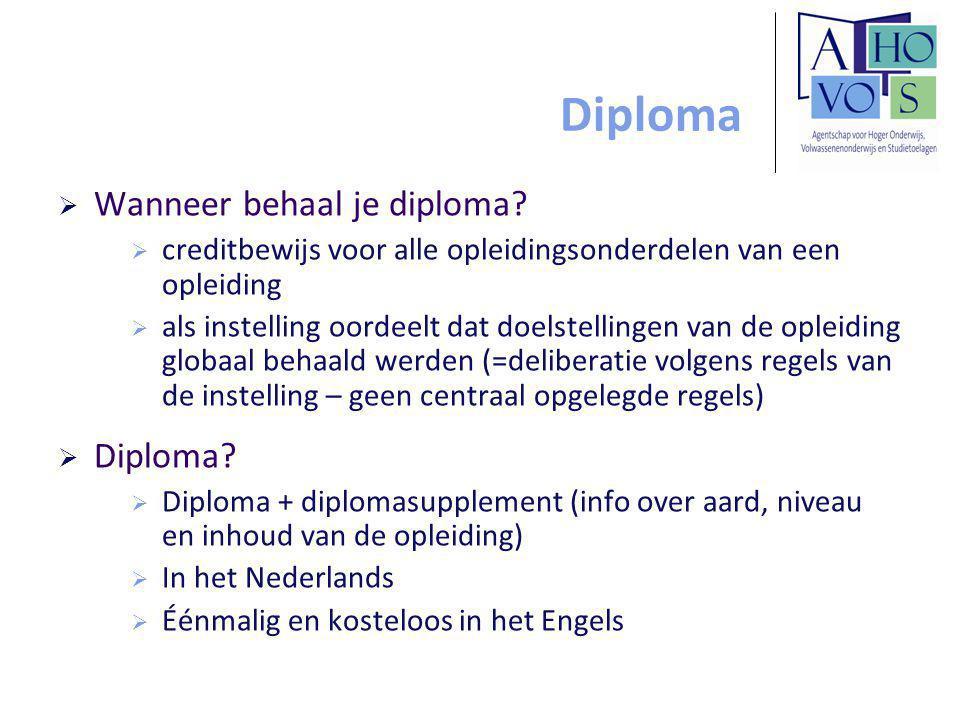 Diploma  Wanneer behaal je diploma.