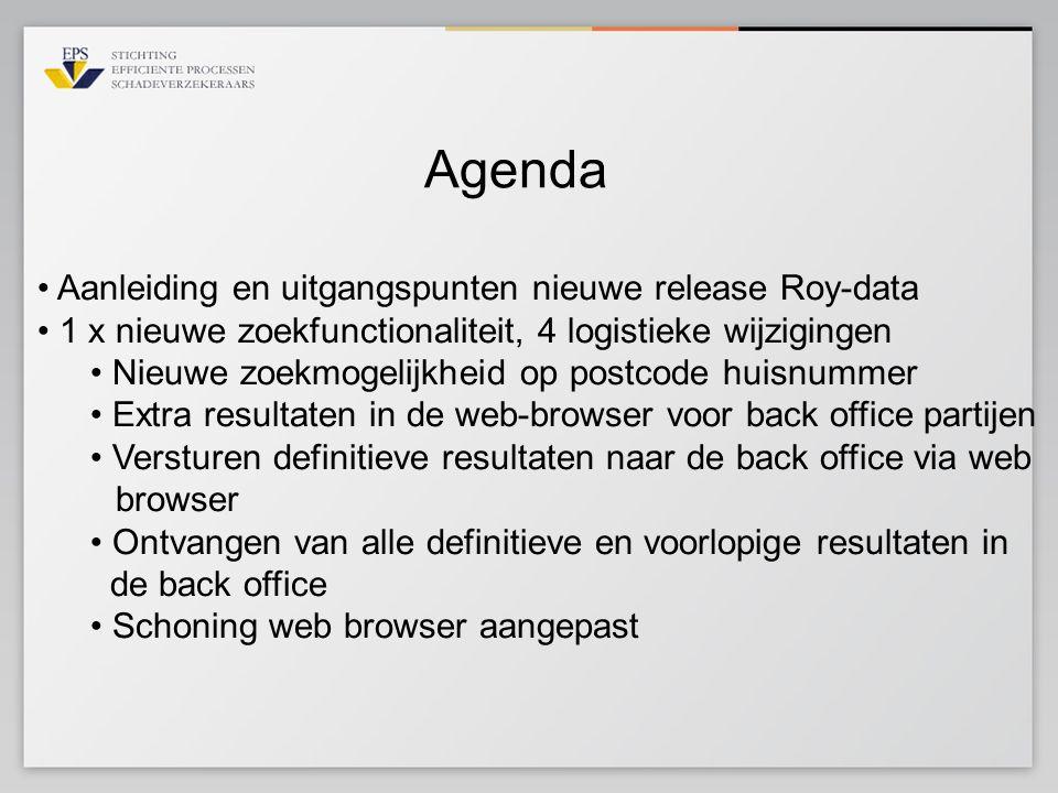 Agenda Aanleiding en uitgangspunten nieuwe release Roy-data 1 x nieuwe zoekfunctionaliteit, 4 logistieke wijzigingen Nieuwe zoekmogelijkheid op postco