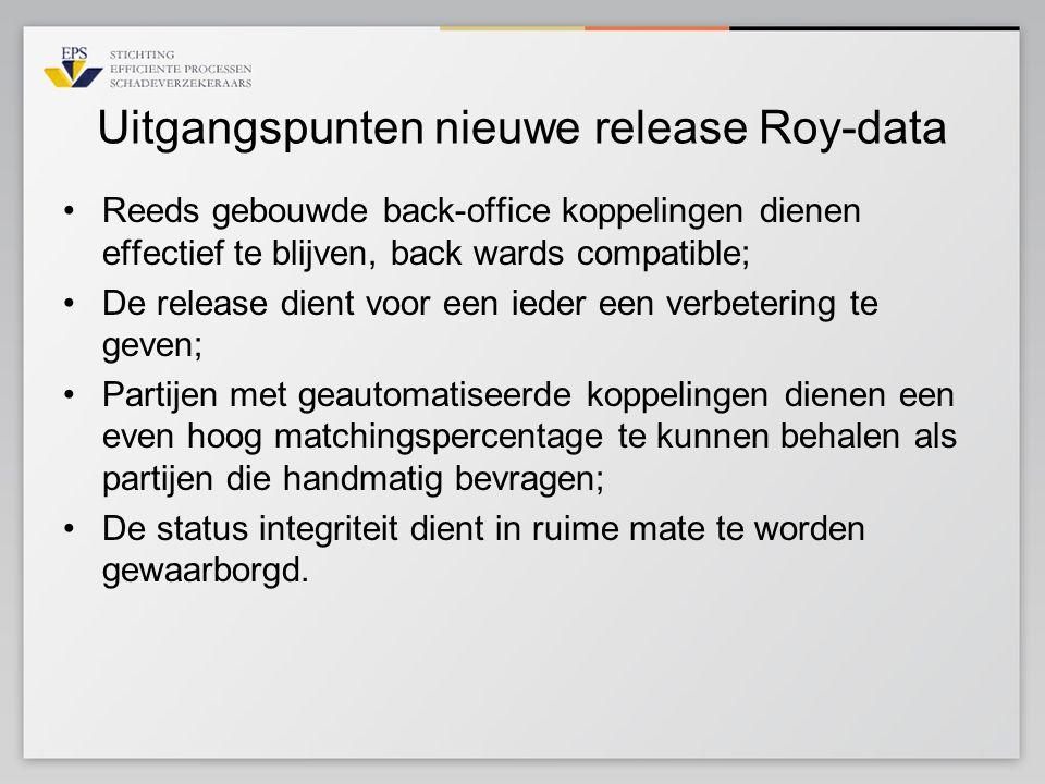 Uitgangspunten nieuwe release Roy-data Reeds gebouwde back-office koppelingen dienen effectief te blijven, back wards compatible; De release dient voo