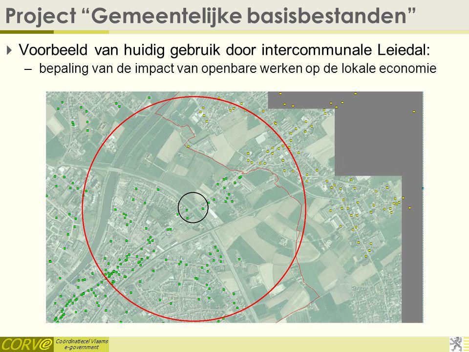 """Coördinatiecel Vlaams e-government Project """"Gemeentelijke basisbestanden""""  Voorbeeld van huidig gebruik door intercommunale Leiedal: –bepaling van de"""