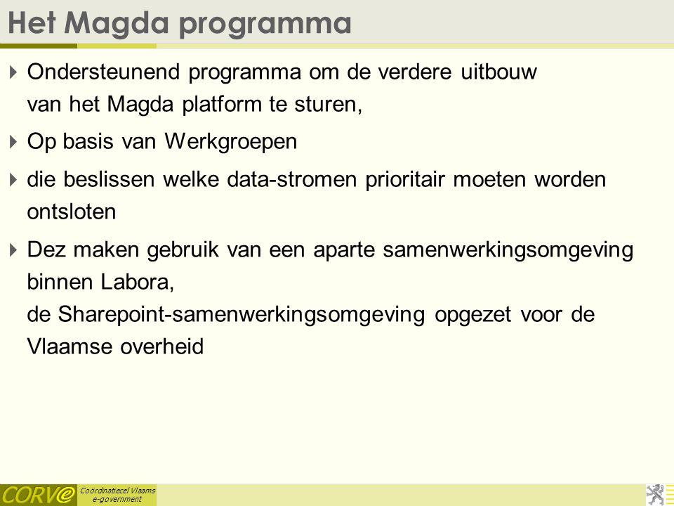 Coördinatiecel Vlaams e-government Het Magda programma  Ondersteunend programma om de verdere uitbouw van het Magda platform te sturen,  Op basis va