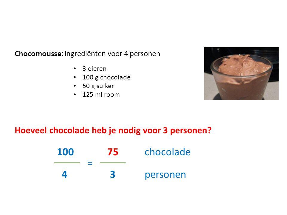 Chocomousse: ingrediënten voor 4 personen 3 eieren 100 g chocolade 50 g suiker 125 ml room Hoeveel chocolade heb je nodig voor 3 personen? 100 4 75 =