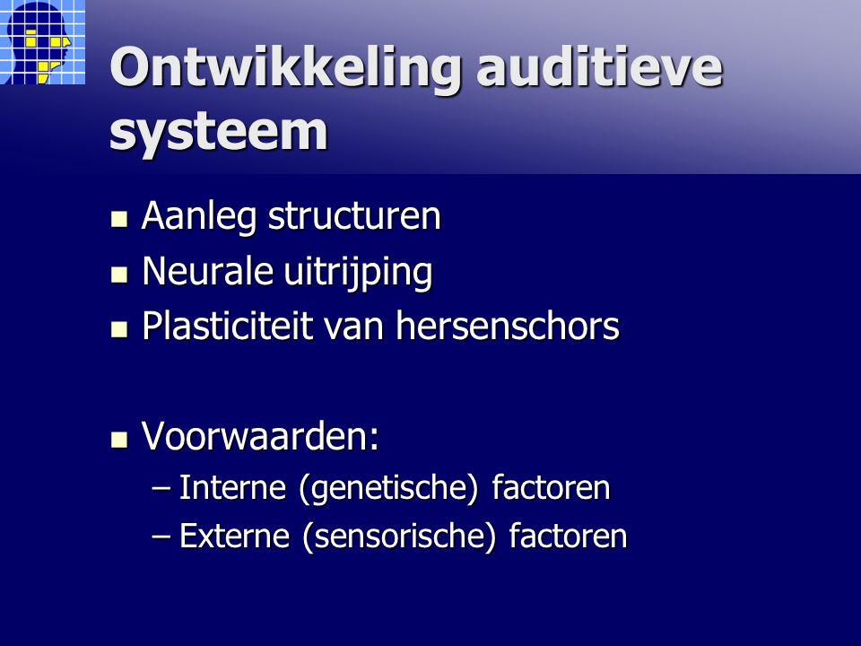 Ontwikkeling auditieve systeem Aanleg structuren Aanleg structuren Neurale uitrijping Neurale uitrijping Plasticiteit van hersenschors Plasticiteit van hersenschors Voorwaarden: Voorwaarden: –Interne (genetische) factoren –Externe (sensorische) factoren