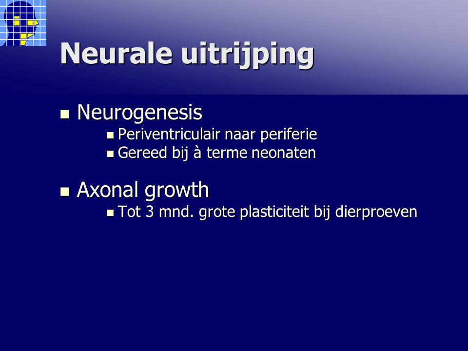 Neurale uitrijping Neurogenesis Neurogenesis Periventriculair naar periferie Periventriculair naar periferie Gereed bij à terme neonaten Gereed bij à terme neonaten Axonal growth Axonal growth Tot 3 mnd.