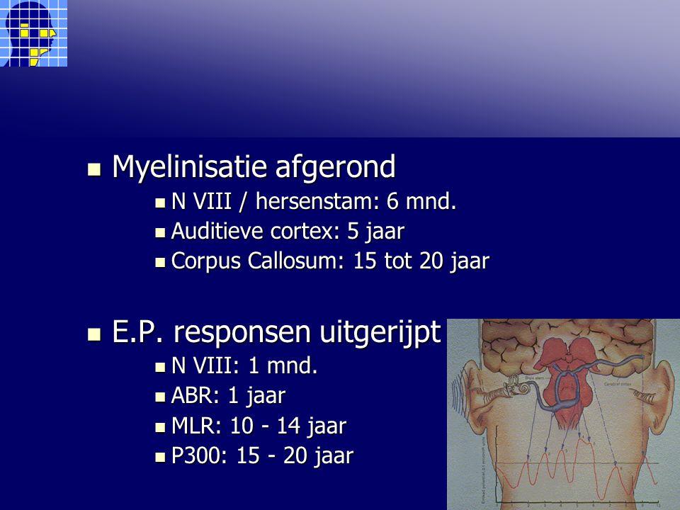 Myelinisatie afgerond Myelinisatie afgerond N VIII / hersenstam: 6 mnd.