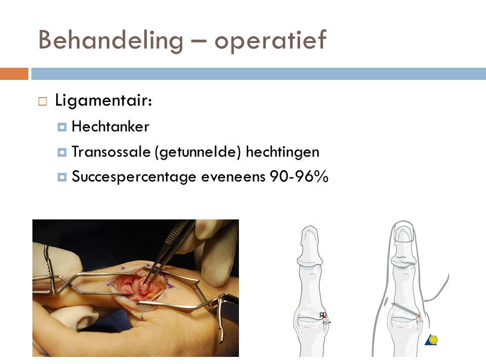 Behandeling – operatief  Ligamentair:  Hechtanker  Transossale (getunnelde) hechtingen  Succespercentage eveneens 90-96%