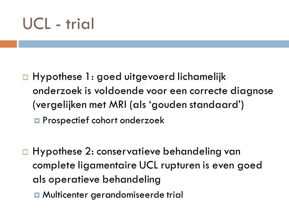 UCL - trial  Hypothese 1: goed uitgevoerd lichamelijk onderzoek is voldoende voor een correcte diagnose (vergelijken met MRI (als 'gouden standaard')