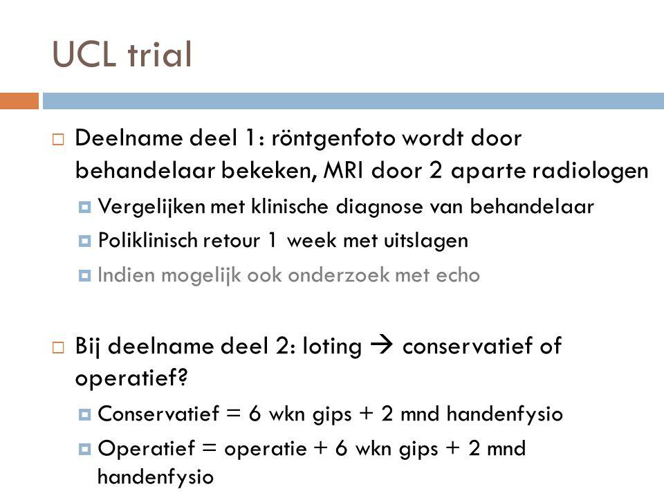 UCL trial  Deelname deel 1: röntgenfoto wordt door behandelaar bekeken, MRI door 2 aparte radiologen  Vergelijken met klinische diagnose van behande