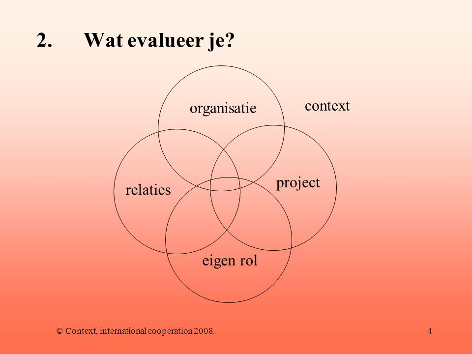 © Context, international cooperation 2008.4 2.Wat evalueer je.