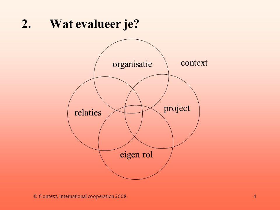 © Context, international cooperation 2008.5 3.Dilemma's bij evalueren -Leren.