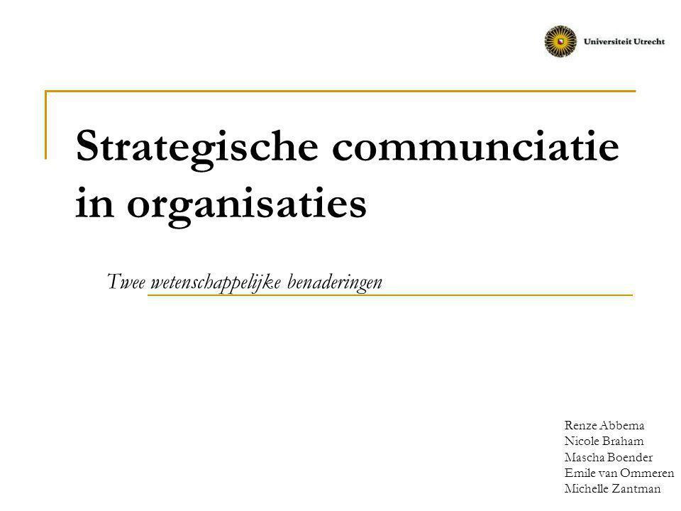 Doel van de presentatie Klassieke benaderingen Hoe kenmerkt organisationele communicatie zich binnen de klassieke benaderingen in organisaties.
