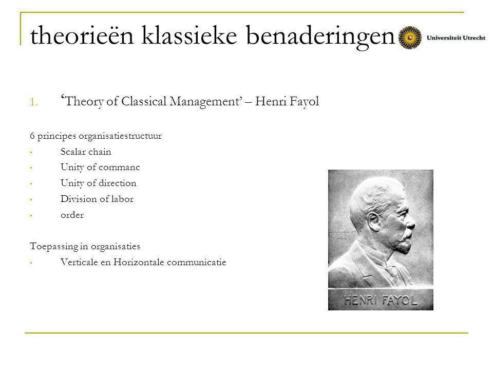 theorieën klassieke benaderingen ' Theory of Bureaucracy' – Max Weber Invloed op organisatiestructuur Duidelijke hiërarchie verdeling van arbeid centralisatie van besluitvorming en macht