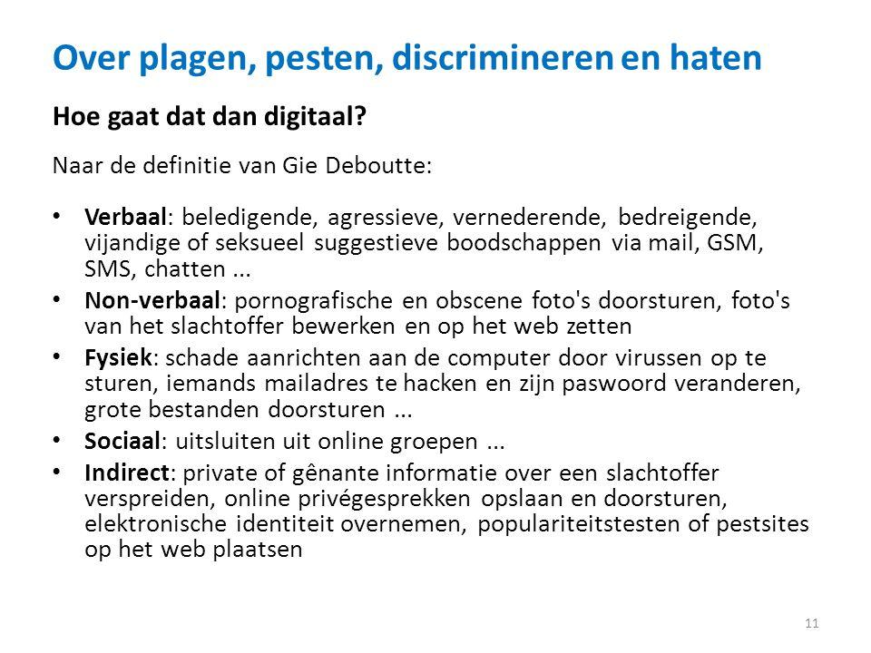Over plagen, pesten, discrimineren en haten 11 Hoe gaat dat dan digitaal.