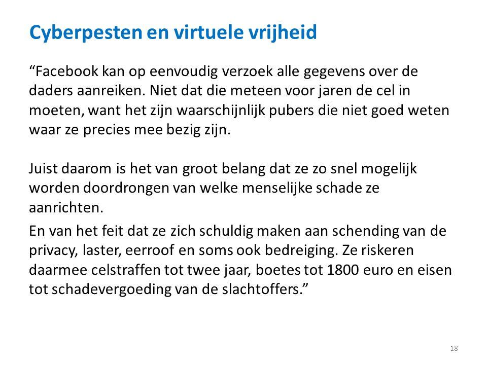 Cyberpesten en virtuele vrijheid 18 Facebook kan op eenvoudig verzoek alle gegevens over de daders aanreiken.