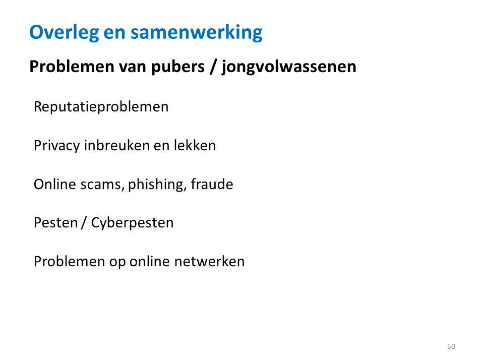 Overleg en samenwerking 50 Reputatieproblemen Privacy inbreuken en lekken Online scams, phishing, fraude Pesten / Cyberpesten Problemen op online netwerken Problemen van pubers / jongvolwassenen