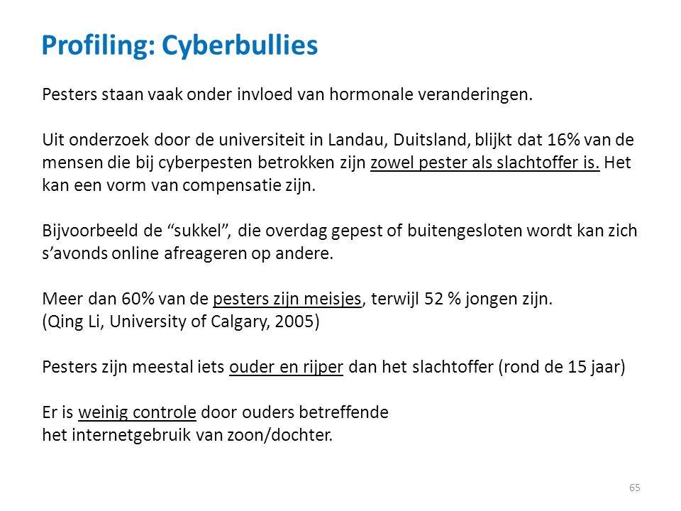 Profiling: Cyberbullies 65 Pesters staan vaak onder invloed van hormonale veranderingen.