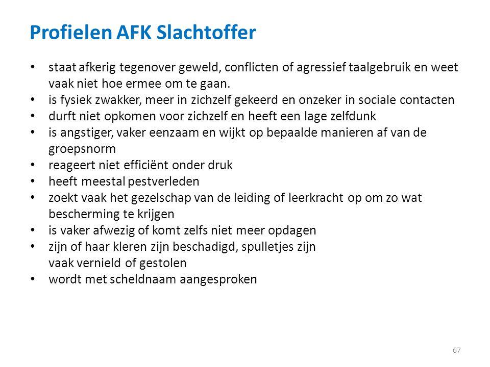 Profielen AFK Slachtoffer 67 staat afkerig tegenover geweld, conflicten of agressief taalgebruik en weet vaak niet hoe ermee om te gaan.