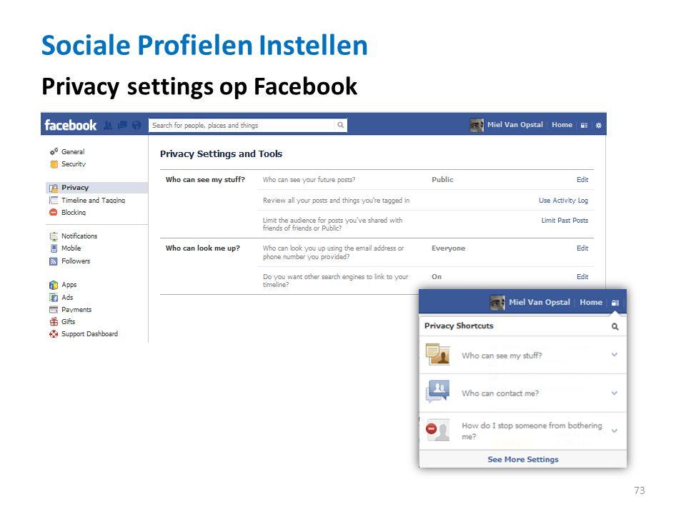 Sociale Profielen Instellen 73 Privacy settings op Facebook