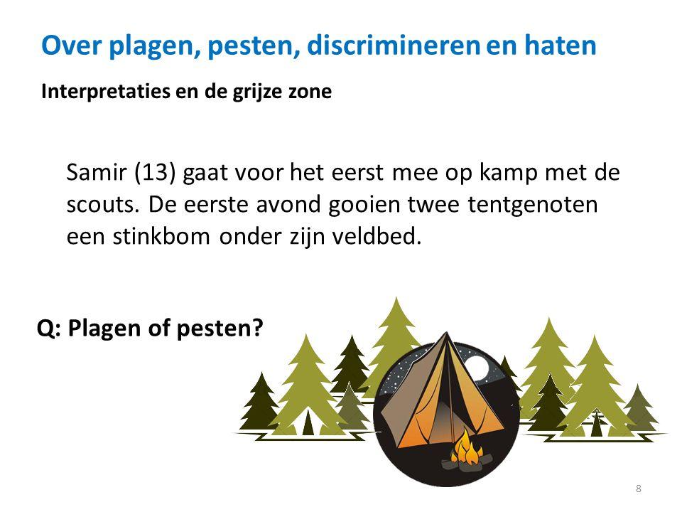 Over plagen, pesten, discrimineren en haten 8 Interpretaties en de grijze zone Samir (13) gaat voor het eerst mee op kamp met de scouts.
