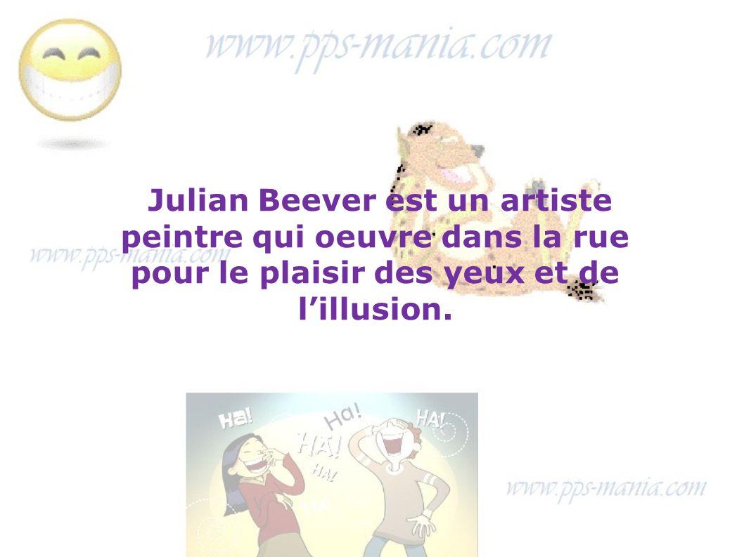 Julian Beever est un artiste peintre qui oeuvre dans la rue pour le plaisir des yeux et de l'illusion.