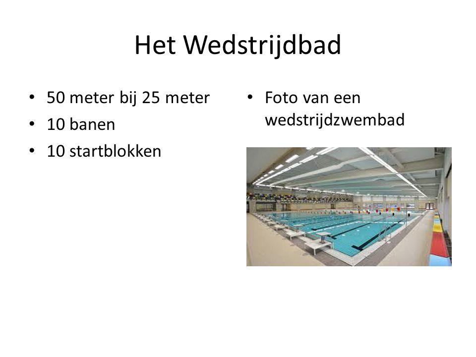 Het Wedstrijdbad 50 meter bij 25 meter 10 banen 10 startblokken Foto van een wedstrijdzwembad