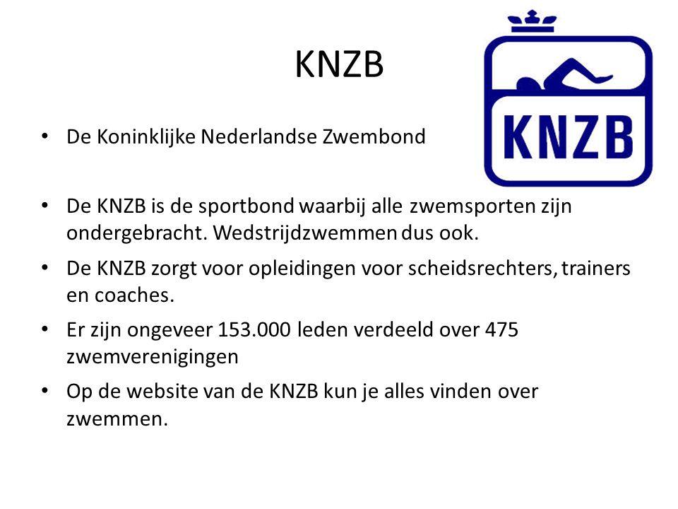 KNZB De Koninklijke Nederlandse Zwembond De KNZB is de sportbond waarbij alle zwemsporten zijn ondergebracht. Wedstrijdzwemmen dus ook. De KNZB zorgt