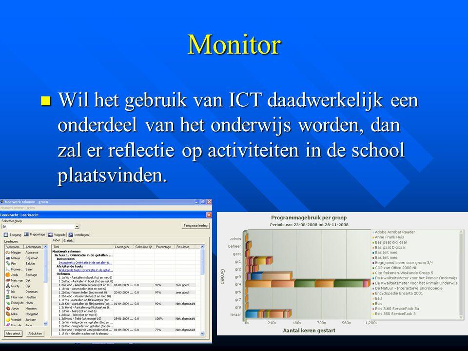 Monitor Wil het gebruik van ICT daadwerkelijk een onderdeel van het onderwijs worden, dan zal er reflectie op activiteiten in de school plaatsvinden.