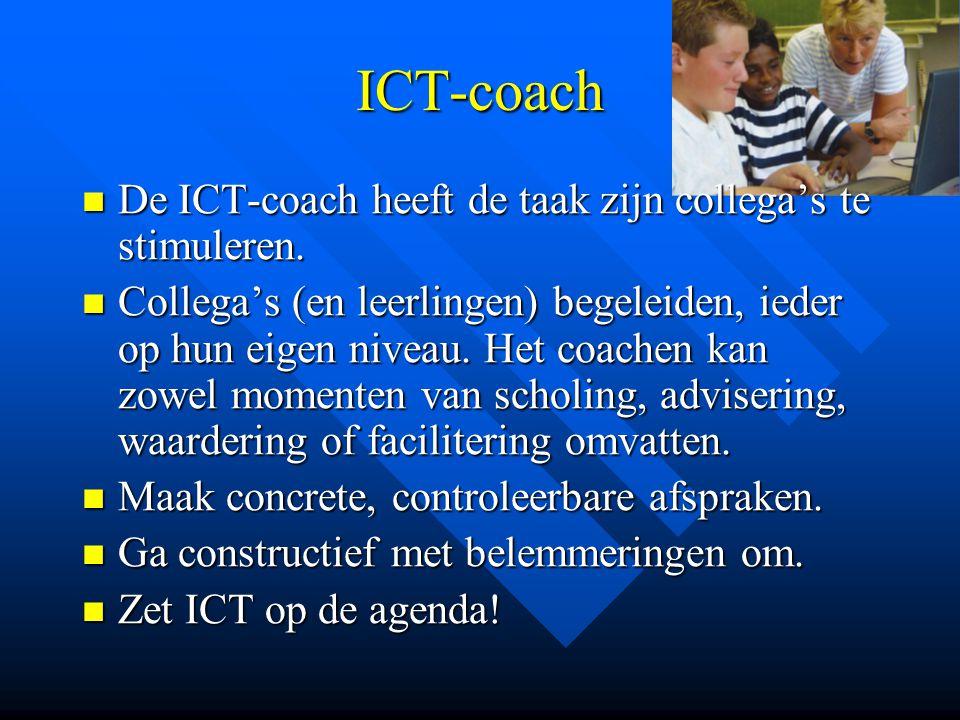 ICT-coach De ICT-coach heeft de taak zijn collega's te stimuleren.